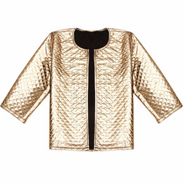 Lozenge jacket online shopping - O Neck New Spring Style Vogue Lozenge Women Gold Sequins Female Jackets Denim Three Quater Sleeve Fashion Coats Outerwears