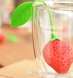 Teapot Infusers Australia - Lovely Fruit Strawberry Shape Tea Infuser Food Grade Silicone Tea Strainer For Loosing Leaf In Teapot 15k