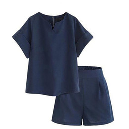 Moda de verano de dos piezas Mujeres camiseta de manga larga Lino grande Talla grande XL-5XL Camisa Tops sólidos + Pantalones cortos de cintura alta Juegos para mujer #F en venta