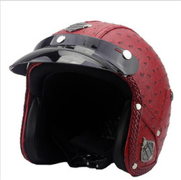 moto professional 2019 - Motorcycle Scooter Open Face Half Retro Vintage Style Professional Moto Helmet Free shipping PU Leather Harley Helmet re
