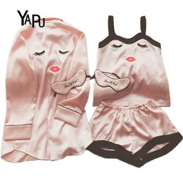 Wholesale Women Satin Silk Pajamas Set Shorts trousers Comfortable Home Service Set Eyelashes Curved Eyes Blink Pajamas Silk Women Suit S1015