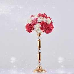 $enCountryForm.capitalKeyWord Australia - 10pcs lot 34CM 49CM Crystal Centerpiece Candle Holder Wedding Decoration Table Centerpiece Road Lead Metal Flower Rack Vase