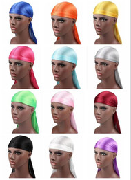 Discount grey woman wig - 2018 New Fashion Men's Satin Durags Bandana Turban Wigs Men Silky Durag Headwear Headband Pirate Hat Hair Accessori