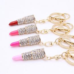 Lipstick Keyring NZ - Rhinestone Lipstick KeyChain Gold Metal Crystal Pendant Car Keyring Woman Gift Wedding Supplies Favors Keychains DHL Free Shipping