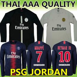 045b3486c New 18 19 PSG Mbappé NEYMAR JR black champions league Game Long sleeve black  soccer jersey 2019 PARIS Di MARIA CAVANI football shirt
