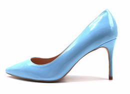Chinese  Free Shipping women lady 2018 hot sale light blue patent leather Poined Toes Wedding heels Stiletto High Heels shoes pumps 120mm 12cm manufacturers