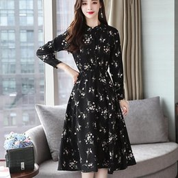 $enCountryForm.capitalKeyWord Canada - 2019 New Arrival Autumn Dress Women Dresses Floral Print Chiffon Dress Female Fashion Elegant Long Sleeve Black Vestidos Mujer
