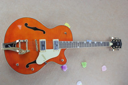 stick guitar UK - Thick body jazz G6120S semi hollow double F hole big stick electric guitar orange body yellow guard