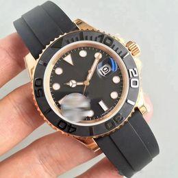 venda por atacado Aço inoxidável Mens Watch 40 milímetros pulseira de borracha Rose ouro Movimento automático Mecânica Mens Relógios Mestre Masculino Relógio de pulso