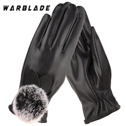Leather Rabbit Gloves Australia - Fashion Women Warm Thick Winter Gloves Leather Elegant Girls Brand Mittens Free Size With Rabbit Fur Female Gloves WarBLade