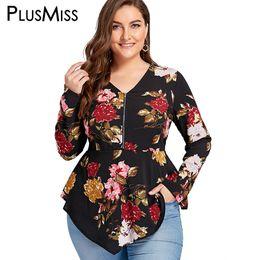 c1fd0304ce23c PlusMiss Plus Size 5XL Zipper Floral Flower Print Blouse Shirt Women Long Sleeve  Tunic Peplum Chiffon Tops Autumn Blusas 2018