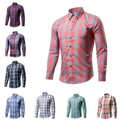Long goLd downs online shopping - Mens Classic Plaid Shirts Colors Casual Long Sleeve Slim Fit Shirt Single Breasted Shirt