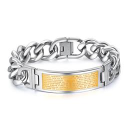 $enCountryForm.capitalKeyWord Australia - Classic Men's Religious Bible in Spanish Cross Cuban Curb Link Silver Gold Chain Bracelets Cuff Wristband High Polish Religious Mens Jewelry