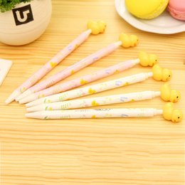 $enCountryForm.capitalKeyWord Australia - 1pcs Cute Yellow Duck Design Ballpoint Pen Roller Pens 0.5MM Blue Ink Ballpoint Pen School Supplies Stationery