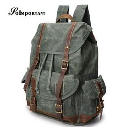 $enCountryForm.capitalKeyWord NZ - New Vintage Oil Wax Canvas Genuine Leather Backpack Female Teenage Men Male Travel Backpacks Laptop Bag Women Bagpack