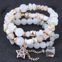 $enCountryForm.capitalKeyWord NZ - Bohemian Glasses Stone Bracelets & Bangles Star Tassel Charms Bracelet Multi layer Bracelets For Women Pulseira Jewelry