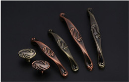 $enCountryForm.capitalKeyWord UK - Red Bronze Solid ancient antique copper carving handle cabinet knob locker pull kitchen drawer accessories with Pitch-row 64 96 128mm #457