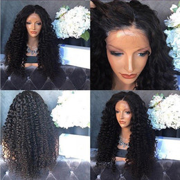 human hair wig long curly NZ - 100% unprocessed new aaaaaaaa virgin human hair natural color kinky curly long full lace top wig for sale