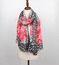 Flowers Free Australia - Staiwalks New 2018 Spring Fashion Vintage Big Scarf With Polka Dots Big Flower Print Shawl Graceful Style Free Shipping