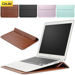 Leather cover macbook pro 13 online shopping - Bag For Macbook Air Pro Retina full series Laptop Sleeve with Stand New Leather Full Protective Laptop Cover