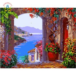 Oil canvas kitchen art online shopping - hand painted oil paintings draw pictures by numbers on canvas wall art for the kitchen home decor seascape flowers WYA065