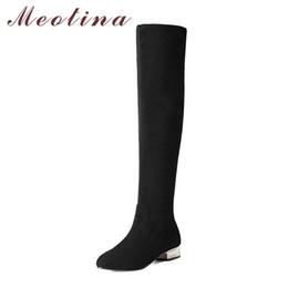 28279b78 Meotina Botas sobre las rodillas de las mujeres Zapatos bajos de invierno  2018 Botas altas del muslo Tacones negros de bloque Zapatos largos Tamaño  del ...