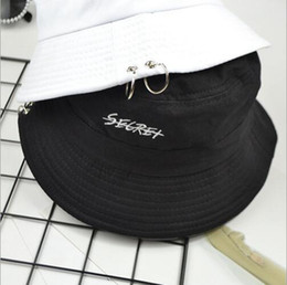 White color flat hat online shopping - Fishing Fisherman Cap Secret Letter Iron Ring Bucket Hat Summer Autumn Fashion Solid Color Sun Hat Hiphop caps OOA4956