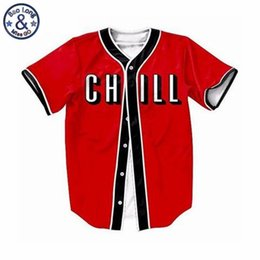 c9a46848c7e Summer Red Cardigan Shirt Chill Baseball Button Up Tee Shirt Casual Summer  Hip Hop Style Tshirt Streetwear