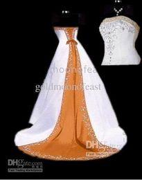 Опт Новый плюс размер США 20 22 24 26 без бретелек белый и оранжевый атласная трапеция свадебные платья с серебряной вышивкой суд поезд
