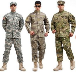 hunting clothing set 2019 - Outdoor Tactical Hunting Combat Gear Training Uniform Sets Suit Shirt Pants A-TACS FG Multicam ACU Army Clothes Clothing