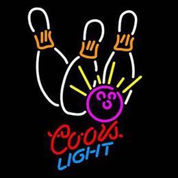 "$enCountryForm.capitalKeyWord UK - Coors Light Bowling Neon Sign Custom Handmade Real Glass Tube Beer Bar Sport Restroom Match Club Store Advertised Display Neon Signs 12""X19"""