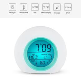 Desktop Table Alarm Clocks Electronic Desk Digital Home Decor Despertador Led Luminova Circular Europe Colored Changing Snooze Home & Garden