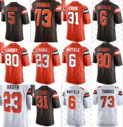 ae4ac0cc8 Cleveland Browns 6 Baker Mayfield 21 Denzel Ward Jersey 80 Jarvis Landry 95  Myles Garrett 73 Thomas 5 Tyrod Taylor Jabrill Peppers Chubb