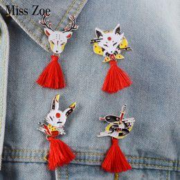 $enCountryForm.capitalKeyWord Australia - Miss Zoe Japanese-style animal pins with red tassels Fox deer rabbit snake Brooch Enamel Pin Buckle Shirt Badge Gift for Kids Girls