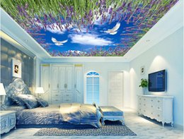 $enCountryForm.capitalKeyWord Australia - 3d photo wallpaper custom mural Blue sky white clouds lavender sky ceiling murals home decoration living room wallpaper for walls 3d