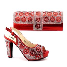 07fda24d2028 red color 2018 African Shoes And Bag Set In Pu Leather Italy High Heels Women  Shoes And Bag To Match For Fashion Wedding Party