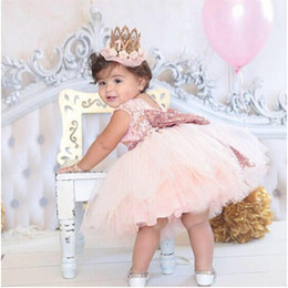 Discount baby girls 1st birthday tutus - Pink Backless Princess Gold Bow Baby Dress for Girl Baptism Christening 1st Birthday Party Newborn Gift Infant Tutu Girl