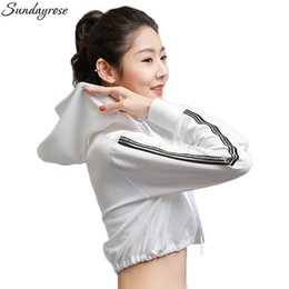 Ribbon Jackets Canada - Brand Women's Sports Running Jacket Fitness Short Style Ribbon Yoga Gym Blouse Clothes Quick Dry Hooded Collar Jackets For Women