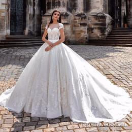 $enCountryForm.capitalKeyWord NZ - Luxury 2019 Princess Lace Ball Gown Wedding Dresses Bateau Neck Appliques Short Sleeve Long Wedding Dress Vestidos De Noiva