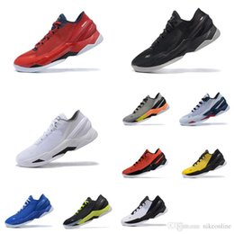 fdb649f1a5fa Cheap Men UA Curry 2 low tops basketball shoes white Black Blue yellow  Stephen Currys two air flights sneakers tennis boot for sale with box