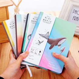Pages Stationery Australia - Creative Trend Notebook Bule Whale Diary Book Hardcover Diary Color Pages Blank A5 Planner Korea Stationery School WJ-XXWJ500-