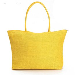 China Wholesale-2015 Summer Style Beach Bag Purse Handbag Hot New Design Straw Popular Weave Woven Shoulder Tote Shopping Gift FreeShipping N770 cheap woven tote bags wholesale suppliers