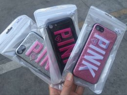 Designs For Iphone Cases Australia - 2018 Fashion Design Glitter 3D Embroidery Love Pink Phone Case For iPhone X, iPhone 8, 7, 6 Plus DHL free shipping