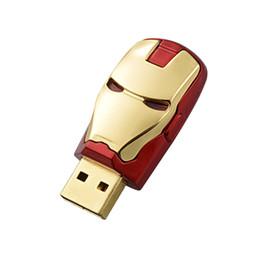 Thumb Flash Drive Australia - Free Shipping 10PCS LOT 128MB LED Iron Man USB Flash Drives Thumb Pen Drives Storage for PC Laptop Tablet 128mb USB 2.0 Memory Stick Gold