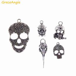 Stylish Pendants NZ - GraceAngie 18pcs Wholesale Antique Silver Skull Mask Stylish Punk Style Pendant Hot Sale Zinc Alloy Charm Jewelry DIY Finding