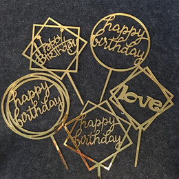 Happy Birthday love Cake Topper Acrylic Birthday Party Decoration Supplies on Sale