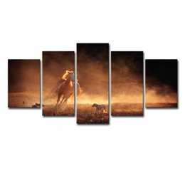 $enCountryForm.capitalKeyWord UK - Canvas Oil Painting Home Decor Wall Art Pictures 5 Pieces Animal Horse And Dog Of Chase Painting For Living Room HD Print