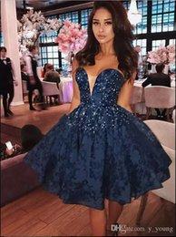 Dark Navy Prom Dresses una línea de encaje con cuentas de lentejuelas Formal corto vestidos de noche Homecoming Graduation Dress Sweetheart 2019 Party Wear