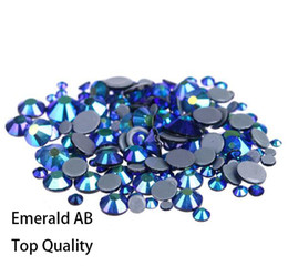emerald clothing UK - Hot Sale A++ Grade Quality Emerald AB Glass Crystals Strass Stones Hotfix Rhinestones For clothing Garment Accessorie