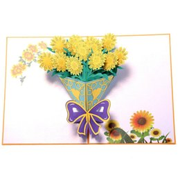 post card envelope wholesale Australia - laser cut 3D flower bouquet paper pop up card with blank envelope invitations greeting cards thank you invitation